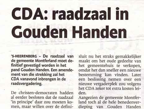 De Gelderlander – CDA: raadzaal in Gouden Handen